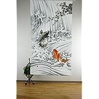 narumi narumikk noren cortina de (en japonés) Ukiyo-e Cascada Escalada Carp 85x 150cm 14219de Japón