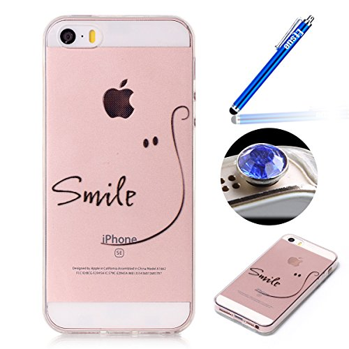 iPhone SE Tpu Case,iPhone 5 5S Silicone Case,Etsue Cute Smile Design Slim Fit Soft Gel Crystal Clear Flexible Rubber Bumper Thin Transparent Protective Tpu Case Cover for iPhone SE/5S/5+Blue Stylus Pen+Bling Glitter Diamond Dust Plug (Colors Random)-Smile Test