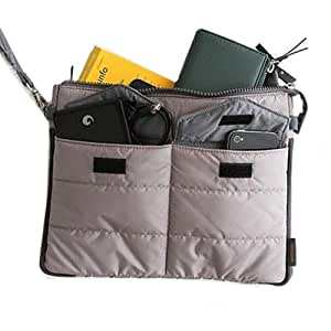 Gadget Pouch Multi Functional Storage Organizer Bag Zip & Cushion Protection for Ipad Tablet iphones Electronics (GREY)