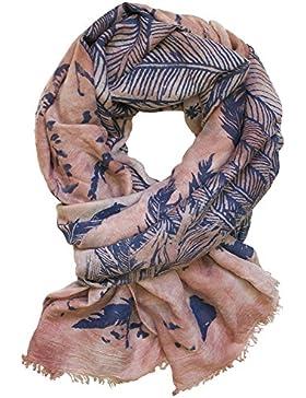 Molto bella sciarpa con motivo piuma, colore: rosa,
