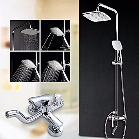 SDKKY Waterfall shower, classic fashion shower set, fine copper faucet multi-file hand