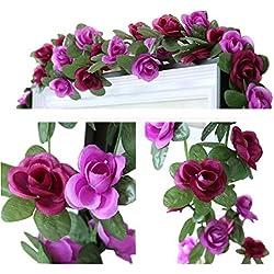 LumenTY - 2 guirnaldas con flores artificiales para decorar en casa, bodas, jardines, cumpleaños, festival, color morado claro y oscuro., Morado, morado