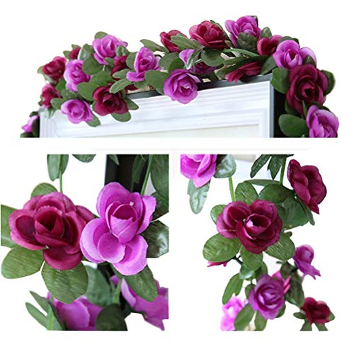 LumenTY 2er-Packung 2.5 m künstliche Rosenreben künstliche Blumen Rattan Blumengirlande für Ihr Zuhause Hochzeiten Garten Geburtstag Feierlichkeiten zur Simulation Girlande Dekoration - Purpur