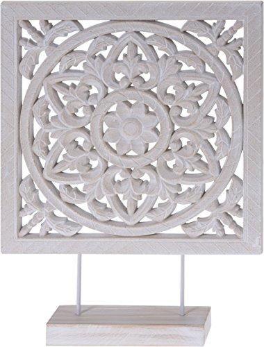 Holzornament mit Sockel weiß 40 x 30 cm Shabby Landhaus Holzbild Ornament Holz