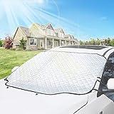 Surenhap Couverture Pare-Brise Voiture Couverture de Neige Pare-Brise Protection Solaire Anti-poussière Couverture de Glace imperméable UV pour Hiver + été, 183 * 116 cm