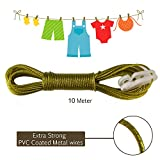AllExtreme 10 Meter PVC Coated Steel Anti-Rust Wire Rope Washing Line Clothesline with 2 Plastic Hooks(Mehandi)
