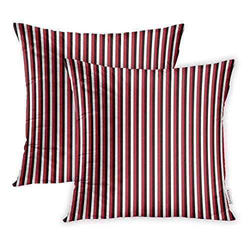 DAICHAI Kopfkissenbezug Set of 2 18x18 Inch Colorful Color Red Black Stripes White Cute Geometric Graphic Line Throw Pillow Covers Decorative Pillowcase Case Cover Two Sided - White Stripe Kopfkissenbezug Set