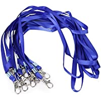 UKCOCO Insignia de tarjeta de identificación de 10 piezas Correas de cuello de cordón con corchete de langosta (azul real)