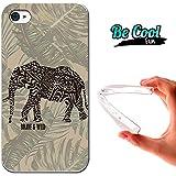 Becool® Fun - Funda Gel Flexible para iPhone 4 iPhone 4S .Carcasa TPU fabricada con la mejor Silicona protege, se adapta a la perfección a tu Smartphone y con nuestro diseño exclusivo Dibujo étnico elefante