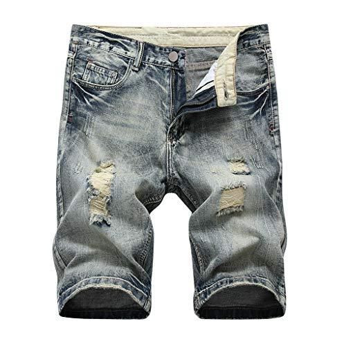 MONDHAUS Herren Sommer Kurze Jeans Shorts Destroyed Jeans Kurze Hose Jeanshose Chinos Cargo Hose 5-Pocket Destroyed Used Stretch Freizeithose Bermuda Slim Fit LN1977 5-pocket-classic-capris