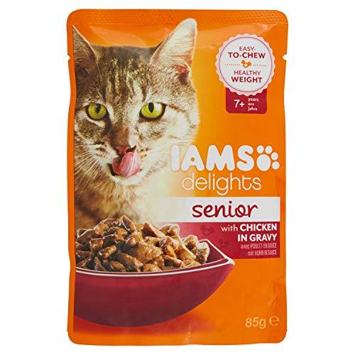 Iams Delights Senior Huhn in Sauce, Nassfutter für ältere Katzen ab 7 Jahre, Probiergröße, Einzelbeutel (85 g) -