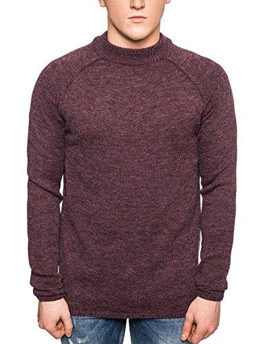 Bellfield–Maglione da uomo a maglia dolcevita–Retro cuciture Sweater–Merlot Merlot