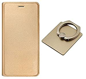 Lenovo A6600 Plus Flip Cover, Shanice Case Cover Combo Gold Golden Leather Flip Cover Case With Ring Stand Holder Ring 360 Degree Rotating Metal Ring Holder Stand for - Lenovo A6600 Plus