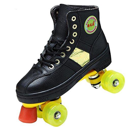 Beauty leader Roller Skates Quad Indoor/Outdoor High Top Leder Rollschuhe für Jugendliche und Erwachsene Erwachsene, Black, 44 -
