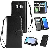 BONROY® Schlichte Einfarbige Hülle für Samsung Galaxy S8 Plus (6,2 Zoll) Brieftasche in Lederoptik, Schale mit Karteneinschub, Etui, Buchstil Geldbörse - (HS-einfarbig 9 Karte schwarz)