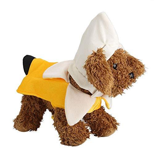 (Hund Kostüm Halloween - Delaman Funny Banana Style Welpen Cosplay Anzug Outfit Thema Party Kostüm für Kinder (Size : S))