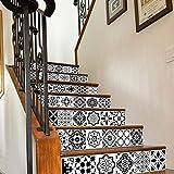 Quner Treppe Aufkleber, Selbstklebend Wasserdicht DIY Wandtattoo PVC 6 Stück Treppen Abziehbild Dekor Entfernbare Abziehbilder (Stil 2)
