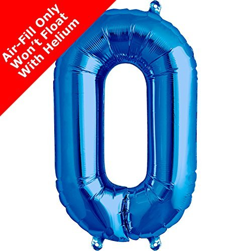 16 inch Blue Number 0 Foil Balloon by Signature Balloons