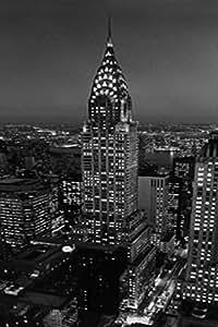 Poster 521 de porte 86 x 200 cm chrysler building noir et blanc new york cuisine for Poster de porte new york