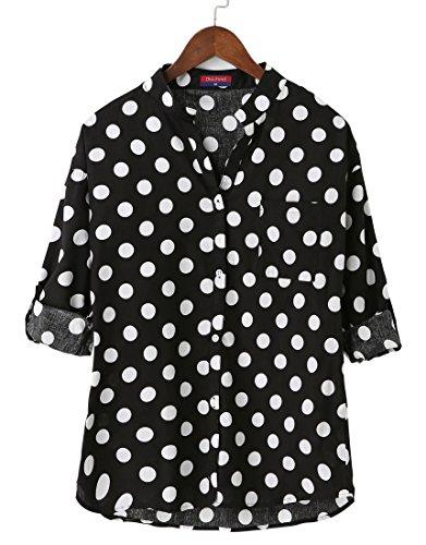 Dioufond Camisas Mujer Manga Larga Estampada de Lunares de Moda de Casual Camisetas de Cuello en V(Negro L)