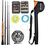 sougayilang Fliegen Angel mit Fly Fishing Reel Combos Set, Silver Full Kits with Bag