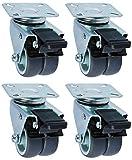com-four 4 Ruote per avvitare/mobili Ruote piroettanti 2X con e 2X Senza Testa Girevole, rulli da Tavolo/Ruote per mobili per mobili (004 Pezzi - 50mm 400kg Doppio Rotolo)