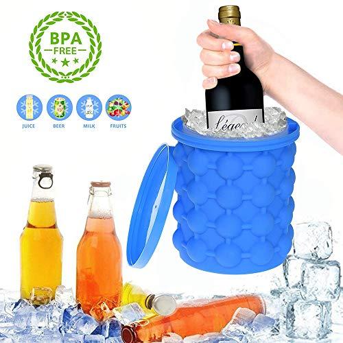 Getränke Maker (YQHbe EiswüRfel Silikon, Ice Cube Maker Genie EiswüRfelbehäLter Mit Deckel EiswüRfelform Silikon Eiseimer Rund FüR Whiskey, Cocktail Und Jedes GeträNk BBQ, EiswüRfelbereiter BPA-Frei)