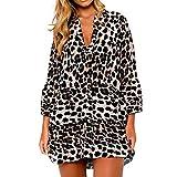 Frauen Kleid Mode Leopard Print Rüschen Saum Shift Skater Kleider Party Mini