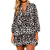 Oliviavan,Damen Mode Leopard Print Rüschensaum Shift Skater Kleid Party Minikleid Leopardenmuster Rock Stern Stil Heißer Kleid Elegant Wolljacke