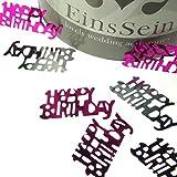 EinsSein 14g Streudeko Geburtstag rosa pink Silber metallisch Happy Birthday Kindergeburtstag Tischdeko Party