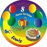 Personalisiertes Tortenbild -Ballon-Motiv- mit Namen und Alter