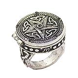 Q & Q Fashion Vintage Argent Tribal celtique de la Trinité Noeud Star médaillon sculpté Anneau de doigt