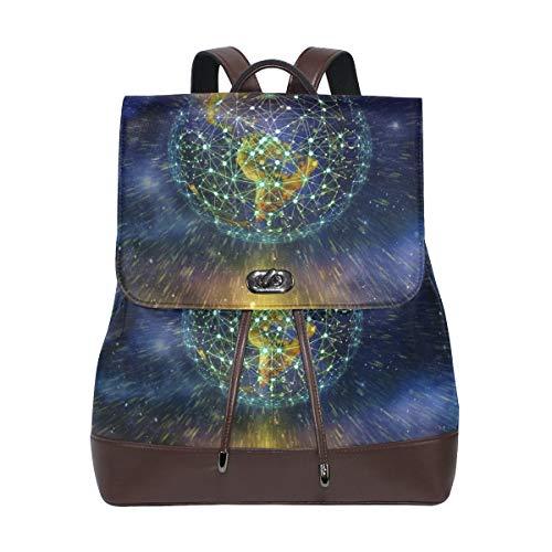 Pu Leder Rucksack Reisetasche stilvolle Casual Daypack für Frauen mädchen kreative Netzwerk Erde -