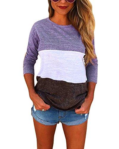 BONESUN Damen Casual T-Shirt Crew Neck Langarmshirt Bluse Tops Lila DE 40 (Crew Shirt Loose)