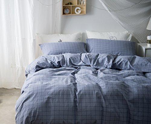Cnspin 4 Teilige König Bettbezug Set Baumwolle Gitter Grau Bettwäsche-Set Bettdecke Set 1 Bettbezug 1 Bettwäsche 2 Kissenbezüge, Gray, 220X240Cm