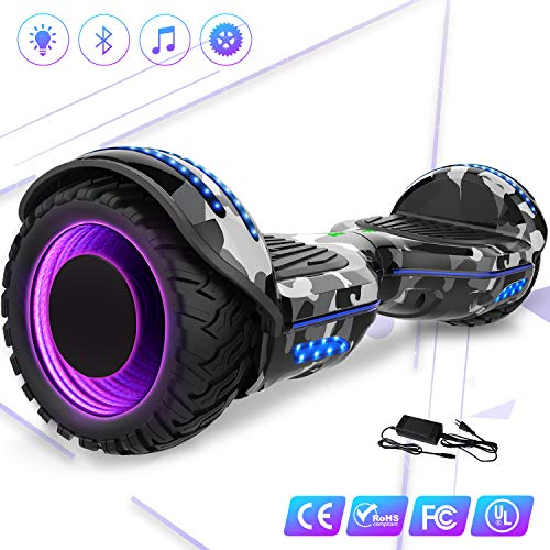 Kategorie <b>Zweirad E-Board (Hoverboard) </b> - Mega Motion 6,5 Zoll Elektro Scooter- Selbstabgleich Elektroroller - mit RGB LED auf Rädern - LED-Zelt - Bluetooth - Lautsprecher und APP - 700W Motor - Gyropod Modell EL-ES01