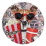 Vipsa Runde Wanduhr, arabische Ziffern, Acryl, rund, geräuschlos, Nicht tickend, 24,1 cm, Trendiger Hund, bunt