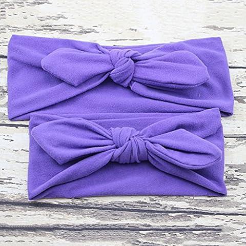 Pyrty (TM) 2016 bambino del cotone turbante fascia dei capelli Madre E Ragazza 2 pezzi di colore solido morbido della fascia elastica del nodo accessori Headwrap
