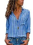 AitosuLa Bluse Gestreift Damen Hemd Oberteile V-Ausschnitt Lose Casual Chiffon Langarm T-Shirt Top Tunika Elegant Langarmshirt Streifen Blau Weiß XL