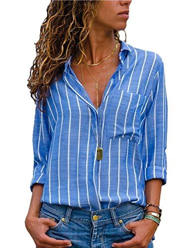 AitosuLa Bluse Gestreift Damen Hemd Oberteile V-Ausschnitt Lose Casual Chiffon Langarm T-Shirt Top Tunika Elegant Langarmshirt Streifen Blau Weiß L -