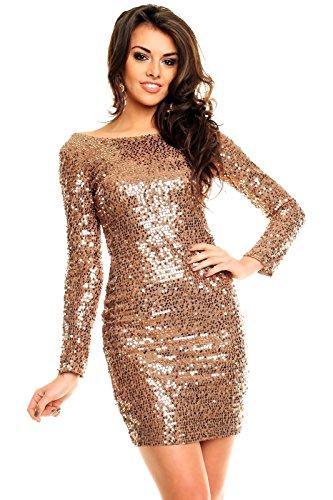 Paillettenkleid rückenfrei Cocktailkleid Abendkleid mit Pailletten bestickt gold braun XL