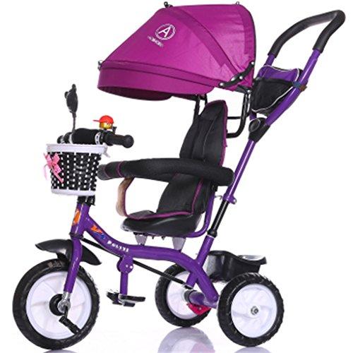 Luxus 4-in-1 Kind Dreirad Fahrrad Boy\'s Bike Mädchen Fahrrad für 6 Monate-6 Jahre alt Baby drei Räder Trolley mit Markise und Eltern Griff | Dämpfung | Vollgummireifen ( Farbe : Lila )