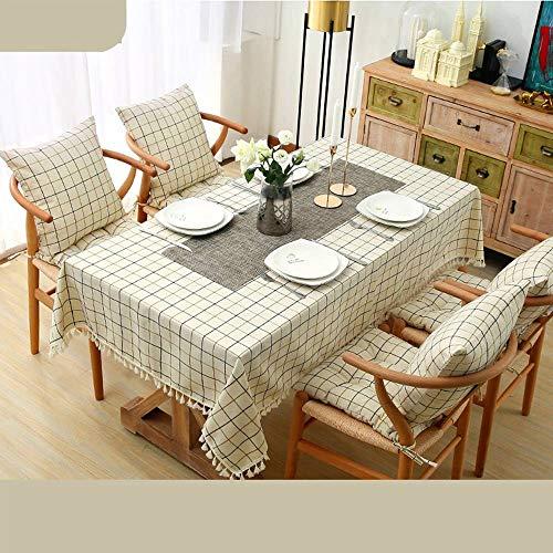 Bove Nappe résistant à l'eau, Coton et Lin Art Décoration nappes ménagères pour Tables rectangulaires-B-140x220Cm(55x87Pouces)