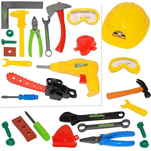 alles-meine.de GmbH 28 TLG. Set -  Bauarbeiter & Handwerker - Werkzeug & Zubehör  - für Kinder - Kinderwerkzeug - Rohrzange - Holzstück - Hammer - Schraubendreher - Schrauben R..