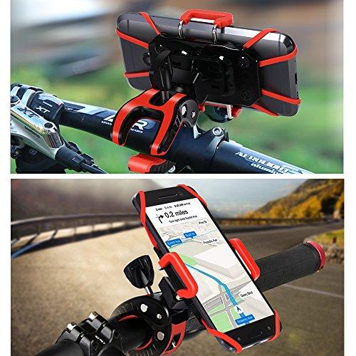 iCozzier Fahrrad Handyhalterung, Universal Verstellbar Drehbar Halterung Fahrradlenker & Motorrad Halterung für iPhone 7 6S plus 5S 5C, Samsung Galaxy S7 Edge S6 Edge, LG G5, HTC10, iOS, Android Smartphones, GPS, und andere kompatible Geräte (rutschfester Klammer, 360 Grad drehbar , Gummistreifen)