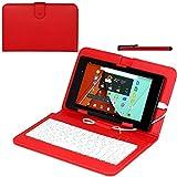 Navitech Rot bycast Leder Stand mit deutschem QWERTZ Keyboard mit Micro USB für das ARCHOS 101c Platinum