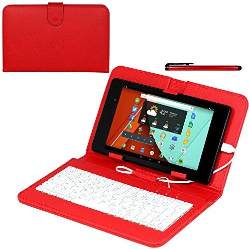 Navitech Rot bycast Leder Stand mit deutschem QWERTZ Keyboard mit Micro USB für das SurfTabbreeze 10.1 quad plus (Bycast Leder Rotes)