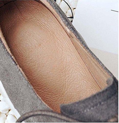 NobS Piani Delle Donne Punta Rotonda Mid Penny Loafer Scarpe Tacco Scarpe Scarpe Casual Sicurezza Sul Lavoro Grey