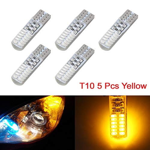 5Pc T10 W5W 3014 SMD-Jaune 24-LED Lampe Wedge 194 Voiture Int 168 DC 12V