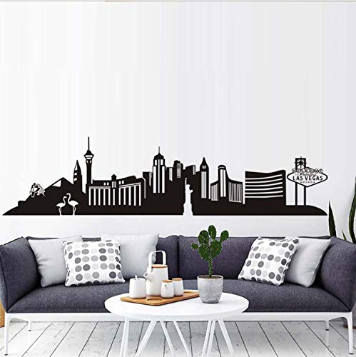 xmydeshoop Las Vegas PVC Wall Decal City Living Room Self Adhesive Hollow Out Art Transfer Vintage Decoration
